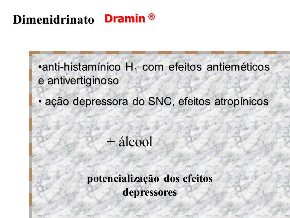 Dramin ® Dimenidrinato potencialização dos efeitos depressores anti-histamínico H 1 com efeitos antieméticos e antivertiginosoanti-histamínico H 1 com