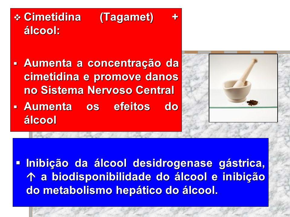 Cimetidina (Tagamet) + álcool: Cimetidina (Tagamet) + álcool: Aumenta a concentração da cimetidina e promove danos no Sistema Nervoso Central Aumenta