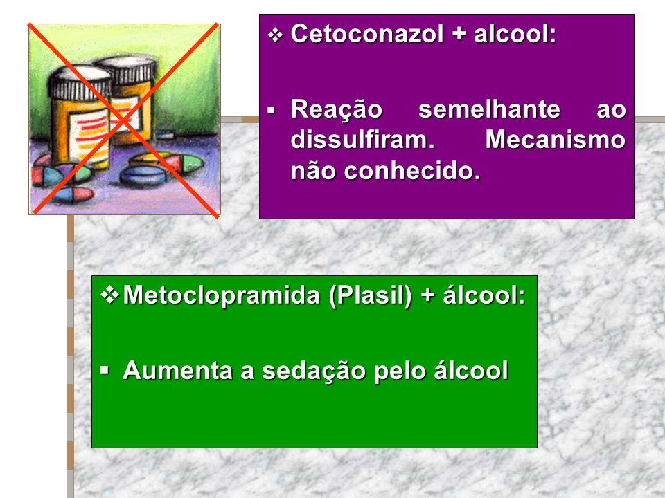 Cetoconazol + alcool: Cetoconazol + alcool: Reação semelhante ao dissulfiram. Mecanismo não conhecido. Reação semelhante ao dissulfiram. Mecanismo não