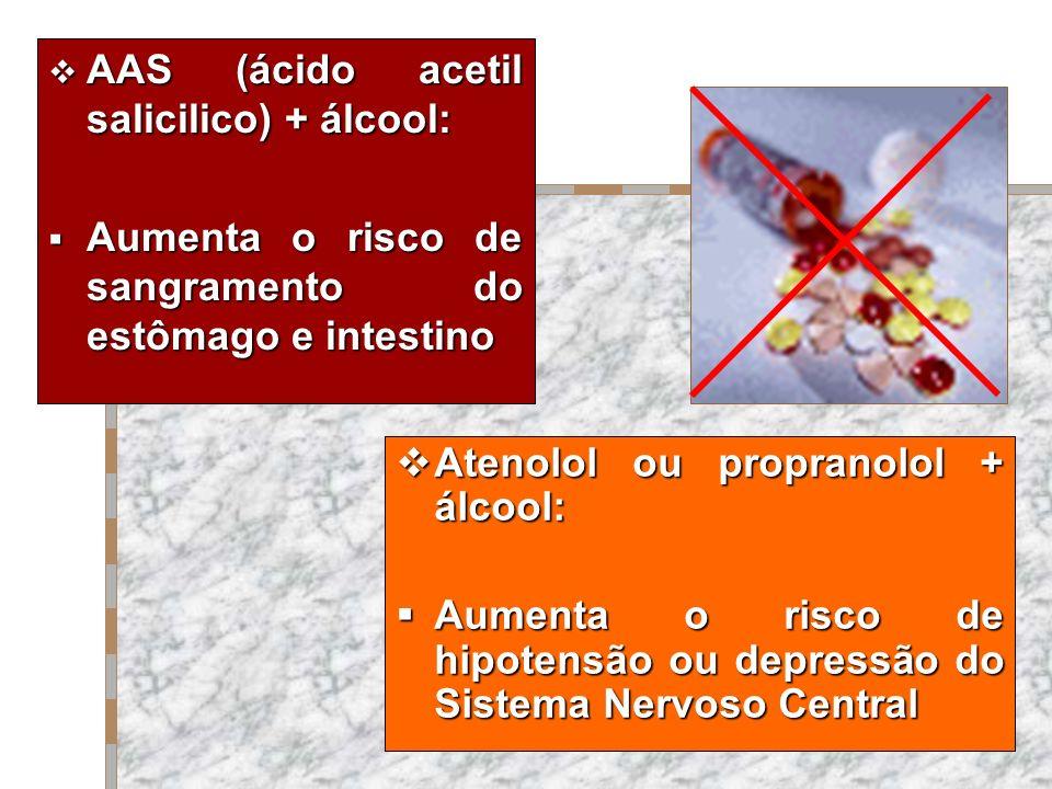 AAS (ácido acetil salicilico) + álcool: AAS (ácido acetil salicilico) + álcool: Aumenta o risco de sangramento do estômago e intestino Aumenta o risco