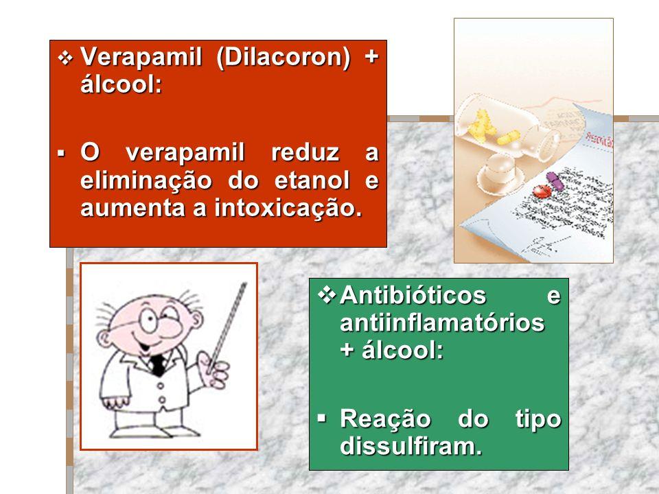 Verapamil (Dilacoron) + álcool: Verapamil (Dilacoron) + álcool: O verapamil reduz a eliminação do etanol e aumenta a intoxicação. O verapamil reduz a