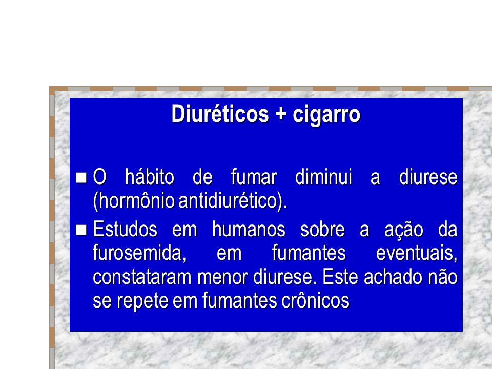 Diuréticos + cigarro O hábito de fumar diminui a diurese (hormônio antidiurético). O hábito de fumar diminui a diurese (hormônio antidiurético). Estud