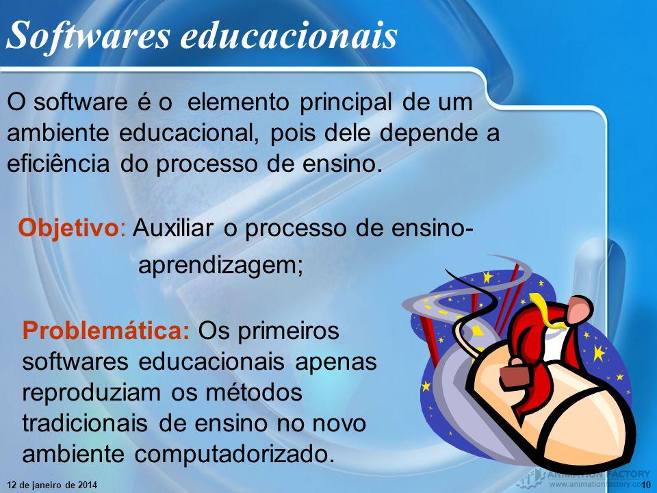 12 de janeiro de 201410 Softwares educacionais O software é o elemento principal de um ambiente educacional, pois dele depende a eficiência do process