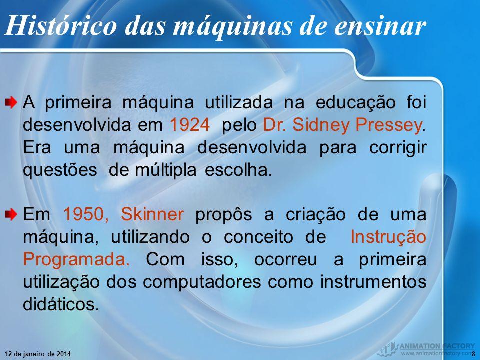 12 de janeiro de 20148 Histórico das máquinas de ensinar A primeira máquina utilizada na educação foi desenvolvida em 1924 pelo Dr. Sidney Pressey. Er