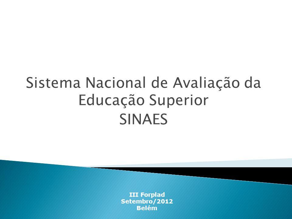Sistema Nacional de Avaliação da Educação Superior SINAES III Forplad Setembro/2012 Belém