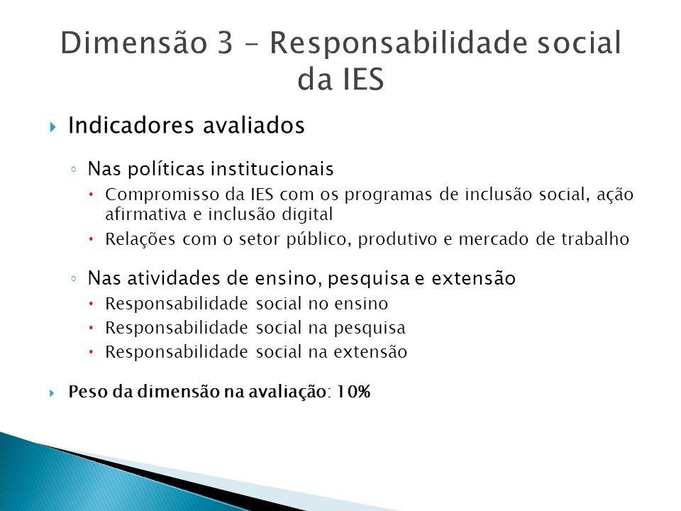 Indicadores avaliados Nas políticas institucionais Compromisso da IES com os programas de inclusão social, ação afirmativa e inclusão digital Relações