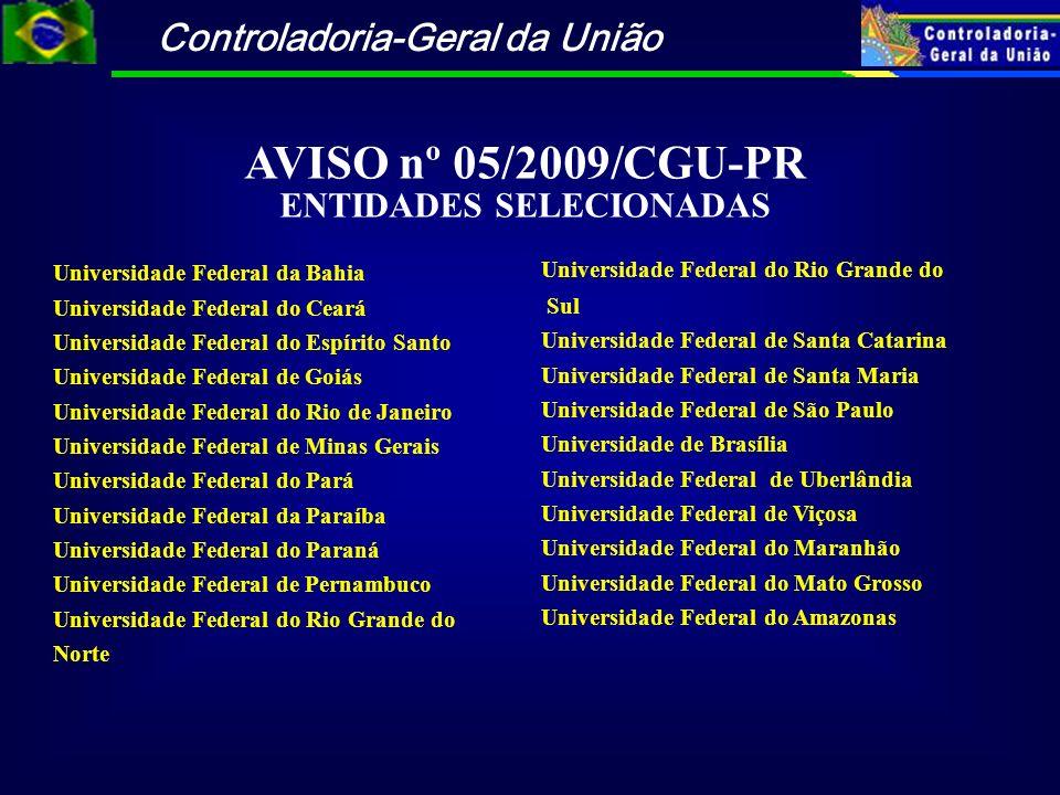 Controladoria-Geral da União AVISO nº 05/2009/CGU-PR ENTIDADES SELECIONADAS Universidade Federal da Bahia Universidade Federal do Ceará Universidade F