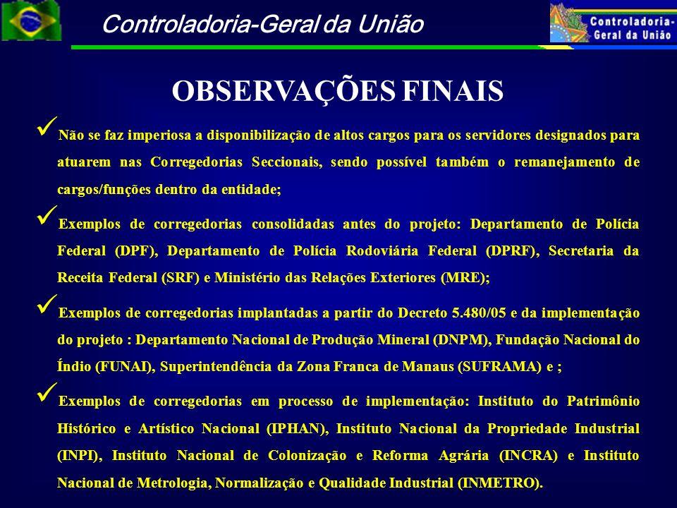Controladoria-Geral da União OBSERVAÇÕES FINAIS Não se faz imperiosa a disponibilização de altos cargos para os servidores designados para atuarem nas