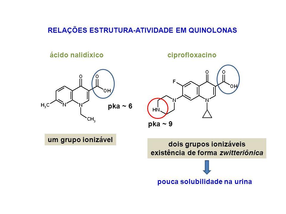 RELAÇÕES ESTRUTURA-ATIVIDADE EM QUINOLONAS ciprofloxacinoácido nalidíxico um grupo ionizável dois grupos ionizáveis existência de forma zwitteriônica