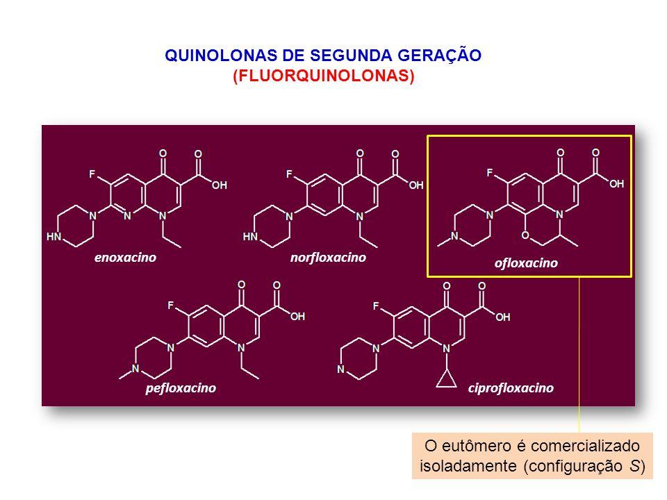 enoxacinonorfloxacino ofloxacino pefloxacinociprofloxacino QUINOLONAS DE SEGUNDA GERAÇÃO (FLUORQUINOLONAS) O eutômero é comercializado isoladamente (c