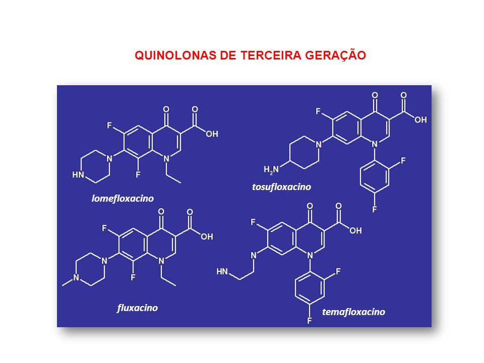lomefloxacino tosufloxacino fluxacino temafloxacino QUINOLONAS DE TERCEIRA GERAÇÃO