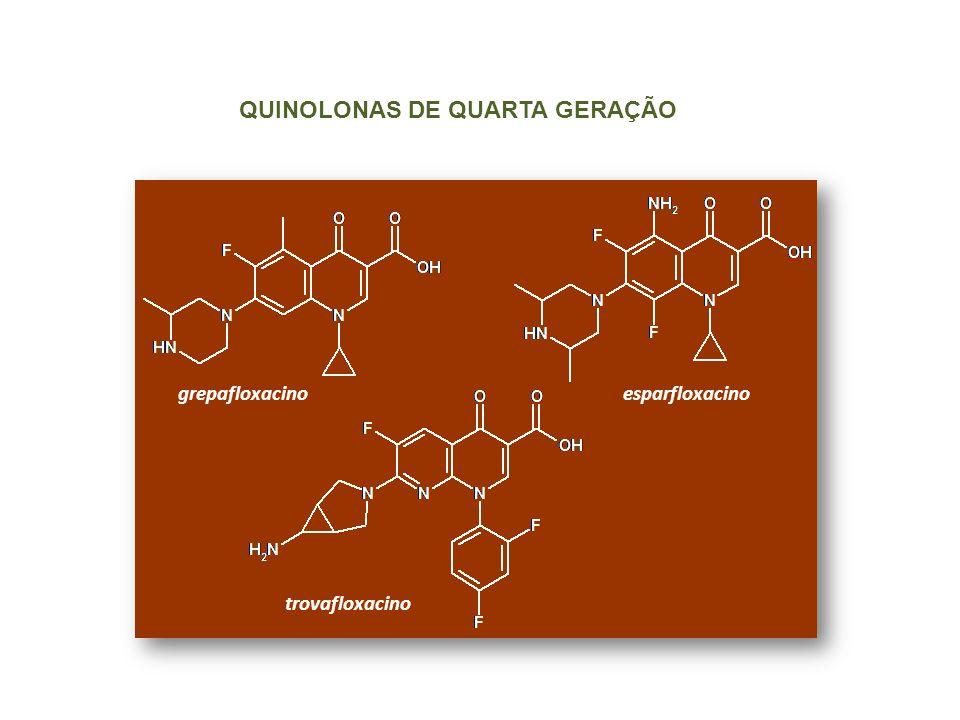 QUINOLONAS DE QUARTA GERAÇÃO grepafloxacinoesparfloxacino trovafloxacino