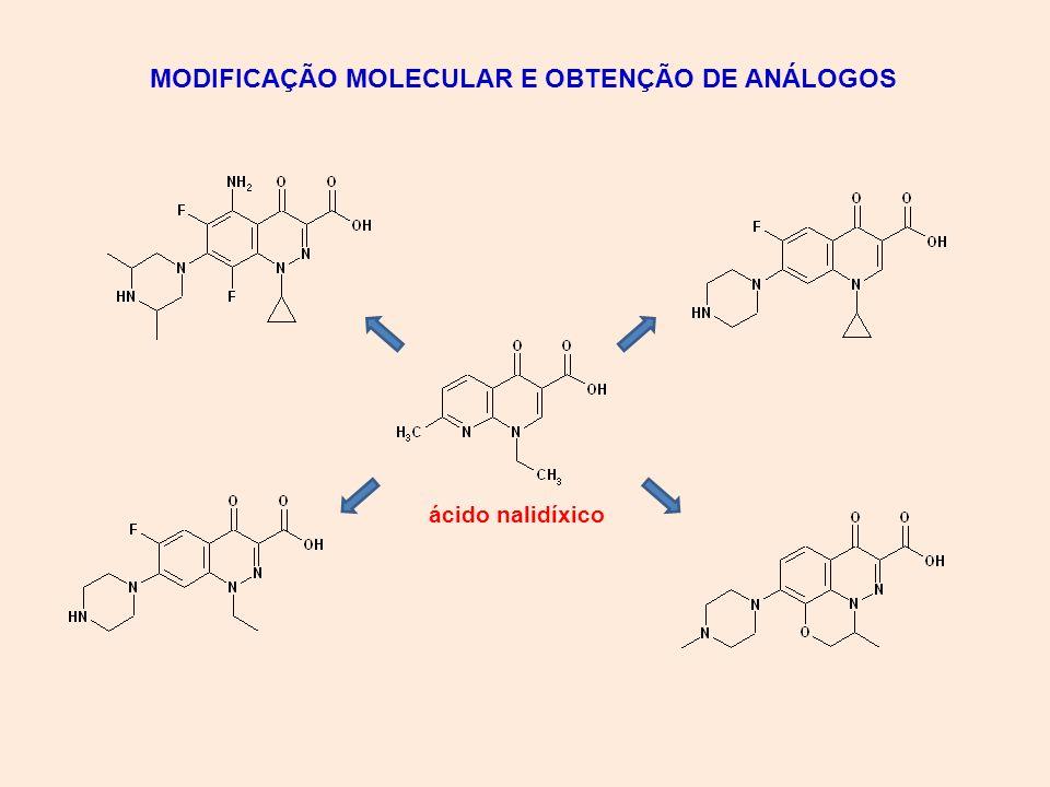 MODIFICAÇÃO MOLECULAR E OBTENÇÃO DE ANÁLOGOS ácido nalidíxico