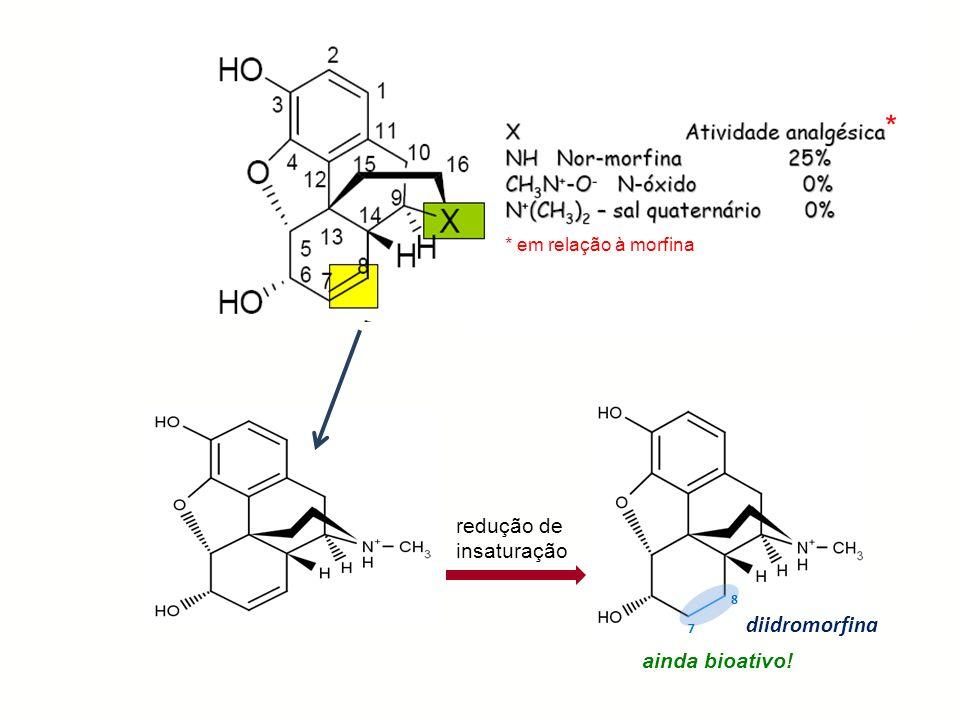 R 7 8 diidromorfina redução de insaturação ainda bioativo! * * em relação à morfina