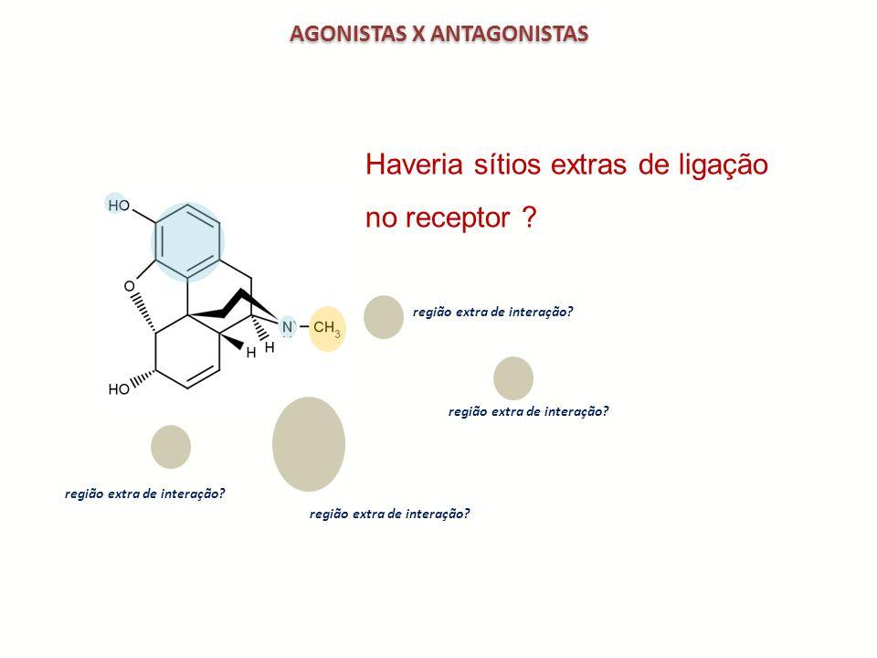 AGONISTAS X ANTAGONISTAS região extra de interação? Haveria sítios extras de ligação no receptor ? região extra de interação?