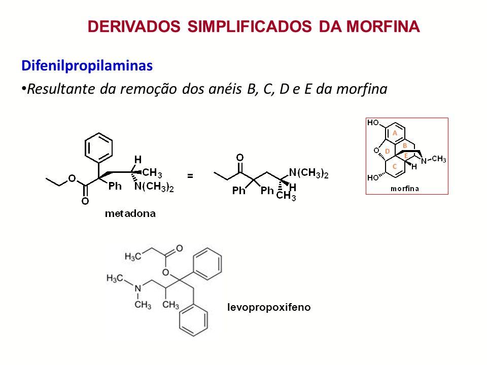 DERIVADOS SIMPLIFICADOS DA MORFINA Difenilpropilaminas Resultante da remoção dos anéis B, C, D e E da morfina levopropoxifeno