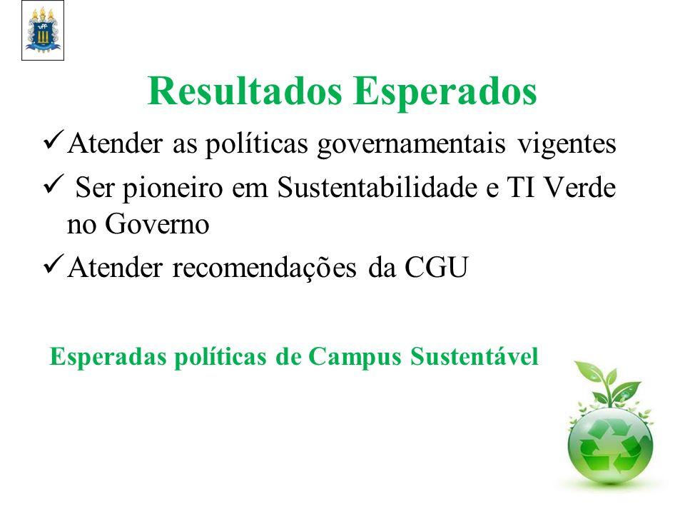 Resultados Esperados Atender as políticas governamentais vigentes Ser pioneiro em Sustentabilidade e TI Verde no Governo Atender recomendações da CGU