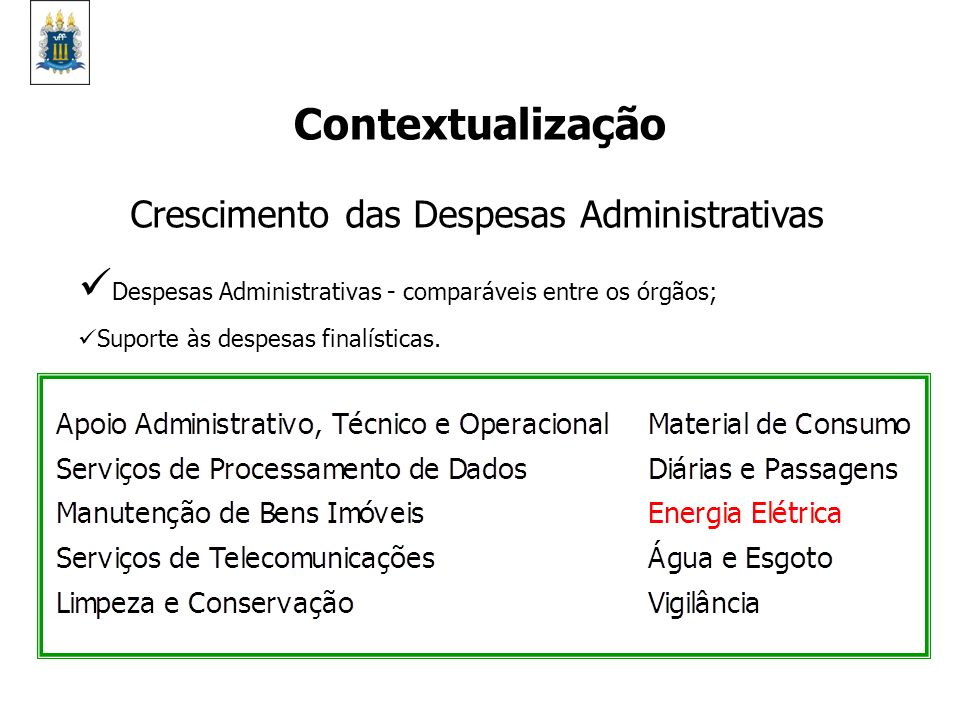 Crescimento das Despesas Administrativas Despesas Administrativas - comparáveis entre os órgãos; Suporte às despesas finalísticas. Contextualização