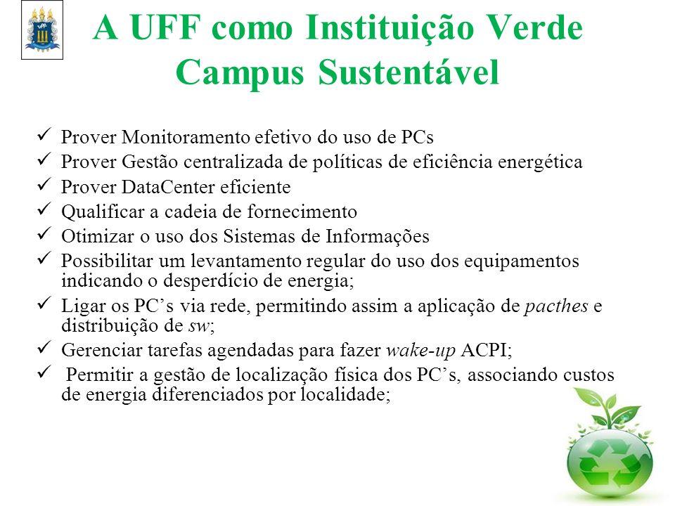 A UFF como Instituição Verde Campus Sustentável Prover Monitoramento efetivo do uso de PCs Prover Gestão centralizada de políticas de eficiência energ