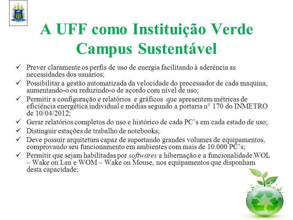A UFF como Instituição Verde Campus Sustentável Prever claramente os perfis de uso de energia facilitando à aderência as necessidades dos usuários; Po