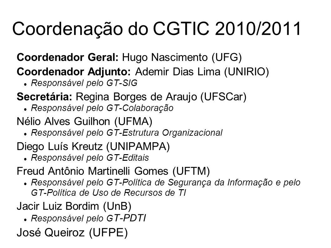 Coordenador Geral: Hugo Nascimento (UFG) Coordenador Adjunto: Ademir Dias Lima (UNIRIO) Responsável pelo GT-SIG Secretária: Regina Borges de Araujo (U