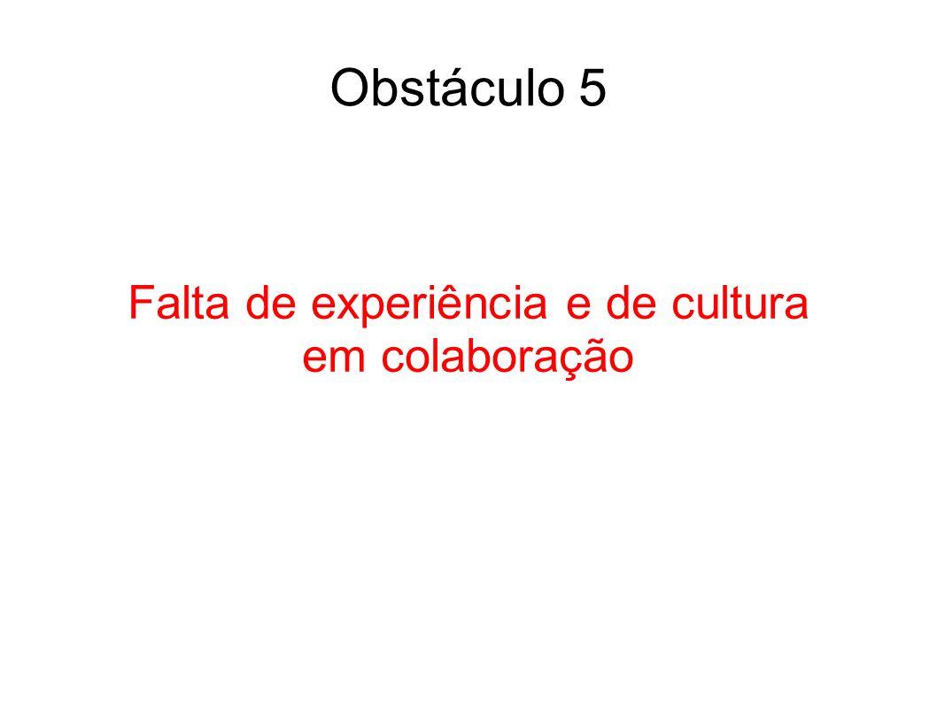 Obstáculo 5 Falta de experiência e de cultura em colaboração