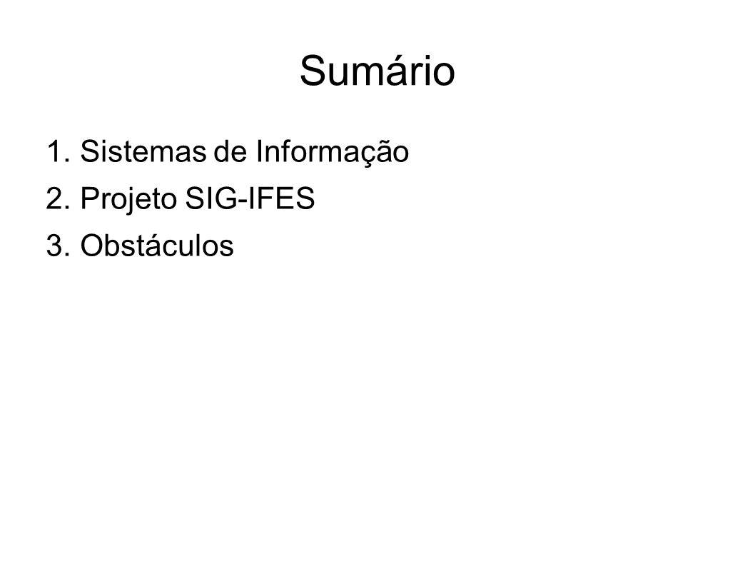 Sumário 1. Sistemas de Informação 2. Projeto SIG-IFES 3. Obstáculos