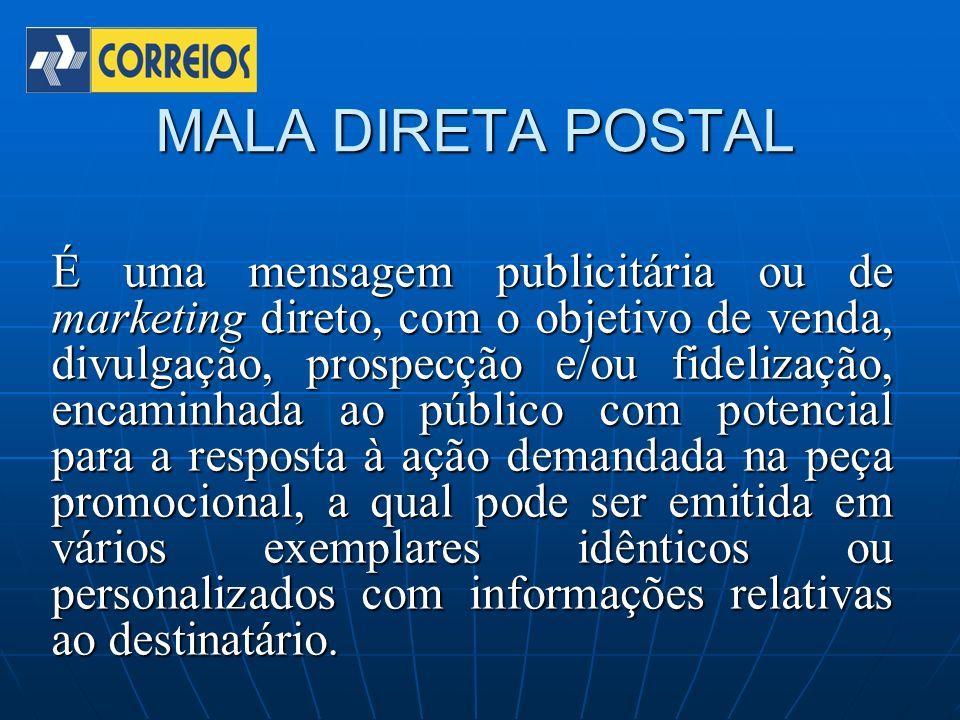 MALA DIRETA POSTAL É uma mensagem publicitária ou de marketing direto, com o objetivo de venda, divulgação, prospecção e/ou fidelização, encaminhada a