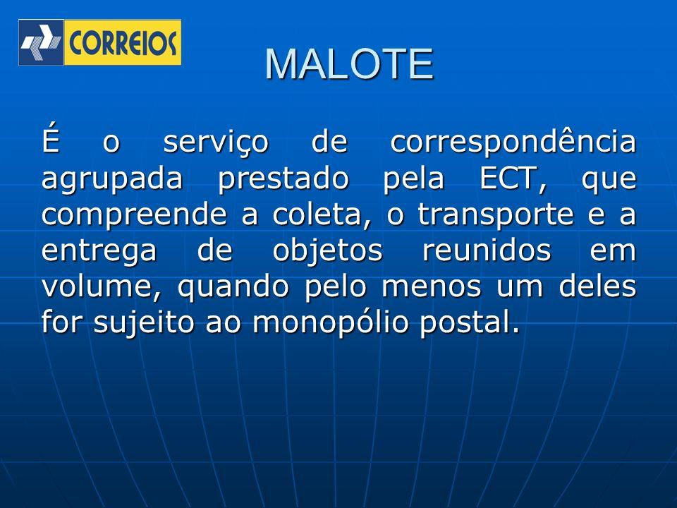 MALOTE É o serviço de correspondência agrupada prestado pela ECT, que compreende a coleta, o transporte e a entrega de objetos reunidos em volume, qua