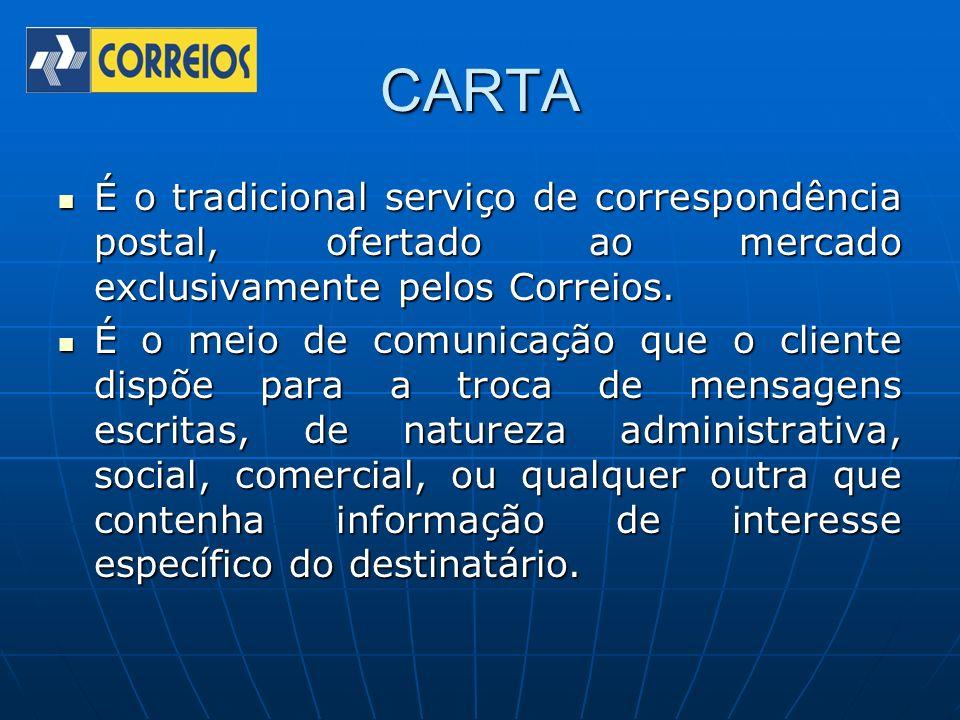 CARTA É o tradicional serviço de correspondência postal, ofertado ao mercado exclusivamente pelos Correios. É o tradicional serviço de correspondência