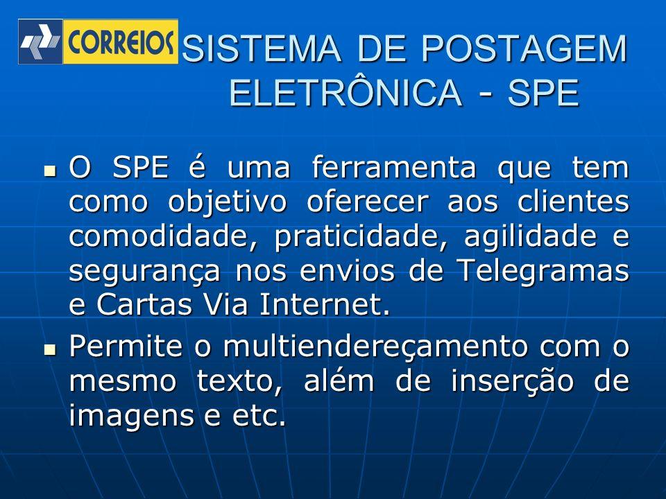 SISTEMA DE POSTAGEM ELETRÔNICA - SPE O SPE é uma ferramenta que tem como objetivo oferecer aos clientes comodidade, praticidade, agilidade e segurança