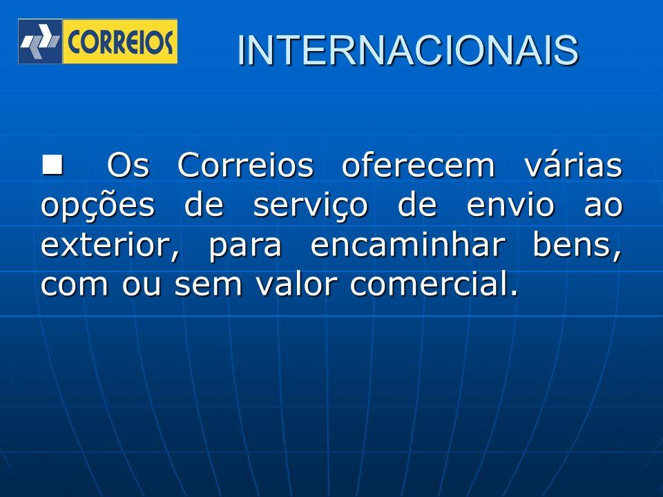 INTERNACIONAIS Os Correios oferecem várias opções de serviço de envio ao exterior, para encaminhar bens, com ou sem valor comercial. Os Correios ofere