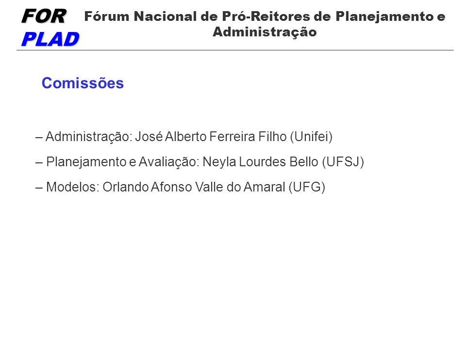 FOR PLAD Fórum Nacional de Pró-Reitores de Planejamento e Administração Comissões – Administração: José Alberto Ferreira Filho (Unifei) – Planejamento e Avaliação: Neyla Lourdes Bello (UFSJ) – Modelos: Orlando Afonso Valle do Amaral (UFG)