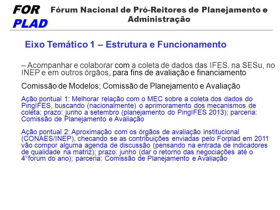 FOR PLAD Fórum Nacional de Pró-Reitores de Planejamento e Administração Eixo Temático 1 – Estrutura e Funcionamento – Acompanhar e colaborar com a coleta de dados das IFES, na SESu, no INEP e em outros órgãos, para fins de avaliação e financiamento Comissão de Modelos; Comissão de Planejamento e Avaliação Ação pontual 1: Melhorar relação com o MEC sobre a coleta dos dados do PingIFES, buscando (nacionalmente) o aprimoramento dos mecanismos de coleta; prazo: junho a setembro (planejamento do PingIFES 2013); parceria: Comissão de Planejamento e Avaliação Ação pontual 2: Aproximação com os órgãos de avaliação institucional (CONAES/INEP), checando se as contribuições enviadas pelo Forplad em 2011 vão compor alguma agenda de discussão (pensando na entrada de indicadores de qualidade na matriz); prazo: junho (dar o retorno das negociações até o 4°forum do ano); parceria: Comissão de Planejamento e Avaliação