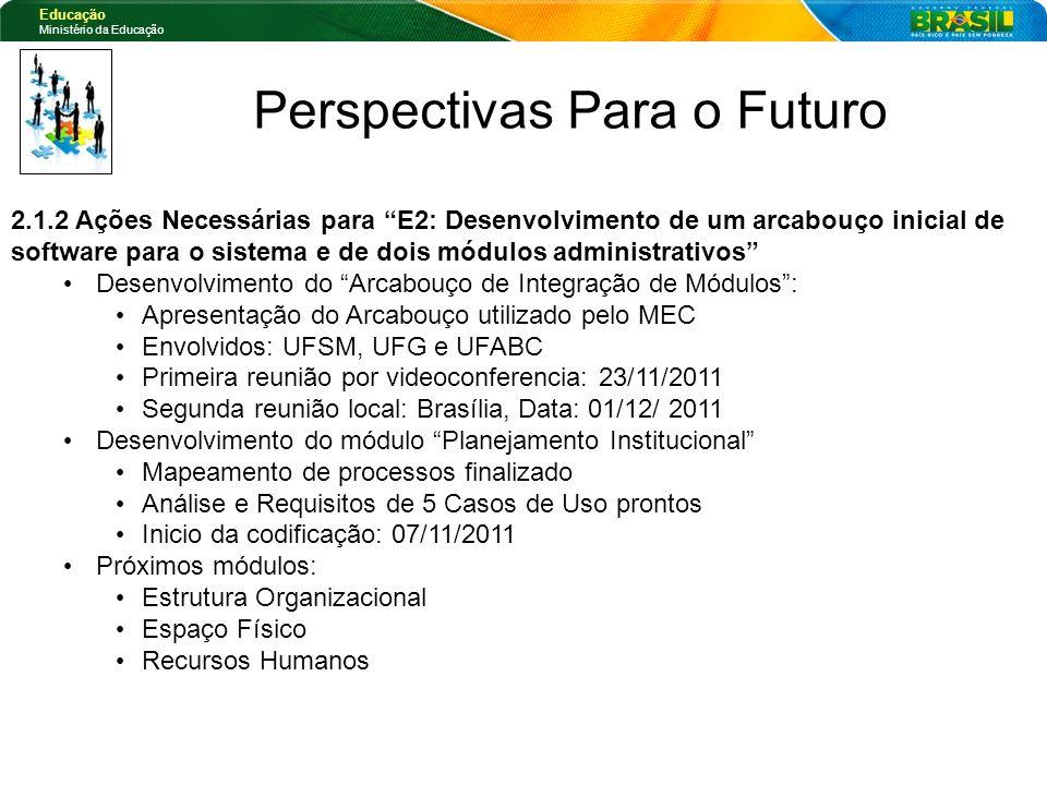 Educação Ministério da Educação Perspectivas Para o Futuro 2.1.2 Ações Necessárias para E2: Desenvolvimento de um arcabouço inicial de software para o