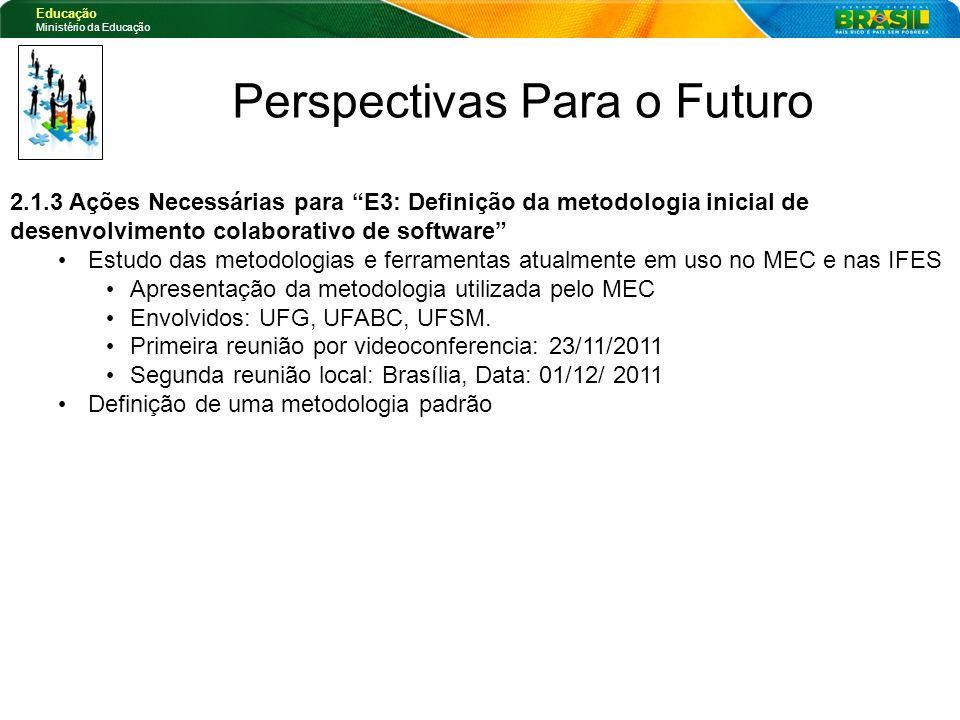 Educação Ministério da Educação Perspectivas Para o Futuro 2.1.3 Ações Necessárias para E3: Definição da metodologia inicial de desenvolvimento colabo