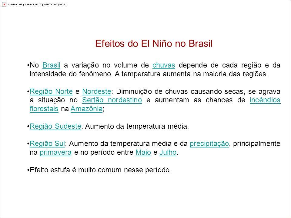 Efeitos do El Niño no Brasil No Brasil a variação no volume de chuvas depende de cada região e da intensidade do fenômeno. A temperatura aumenta na ma