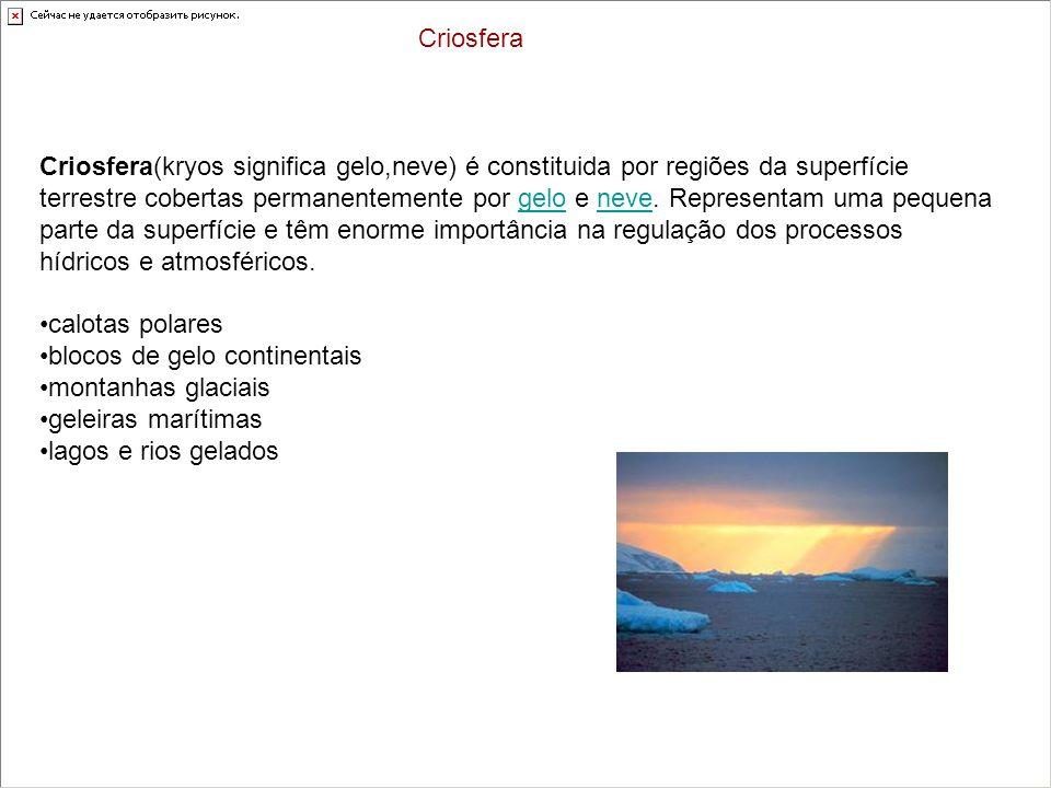 Criosfera(kryos significa gelo,neve) é constituida por regiões da superfície terrestre cobertas permanentemente por gelo e neve. Representam uma peque
