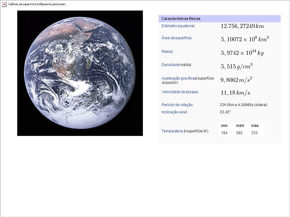 Planeta Terra Características físicas Diâmetro equatorial: Área da superfície: Massa: Densidade média: Aceleração gravíticaá superfície (equador): Vel