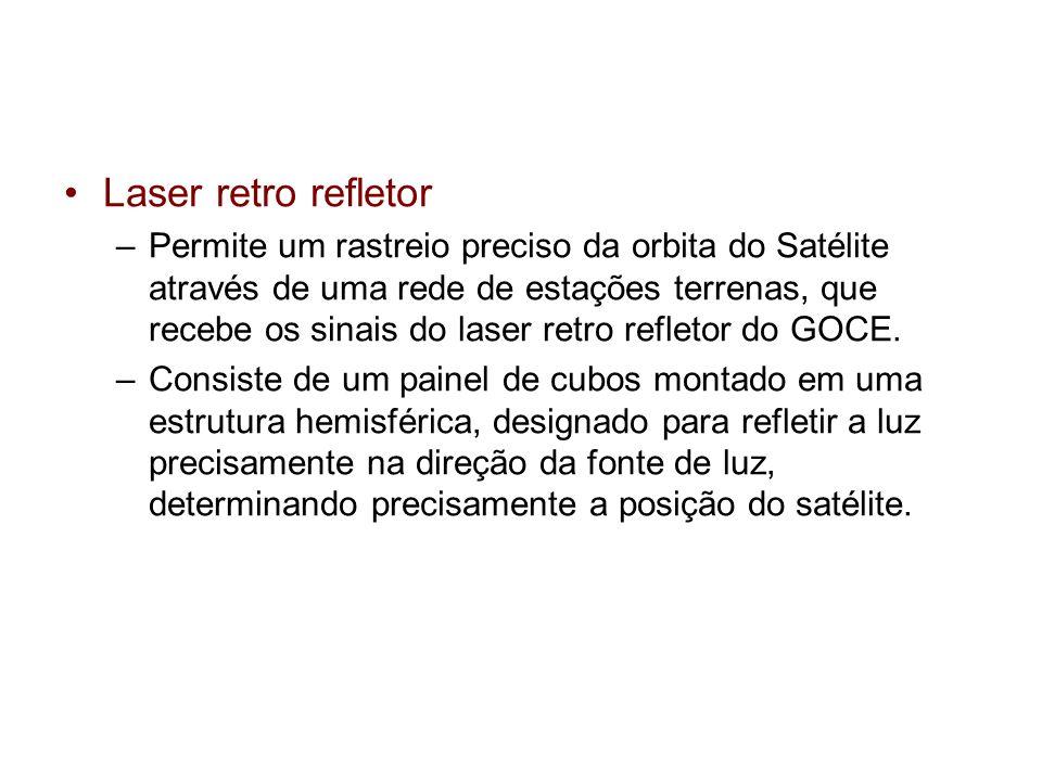 Laser retro refletor –Permite um rastreio preciso da orbita do Satélite através de uma rede de estações terrenas, que recebe os sinais do laser retro