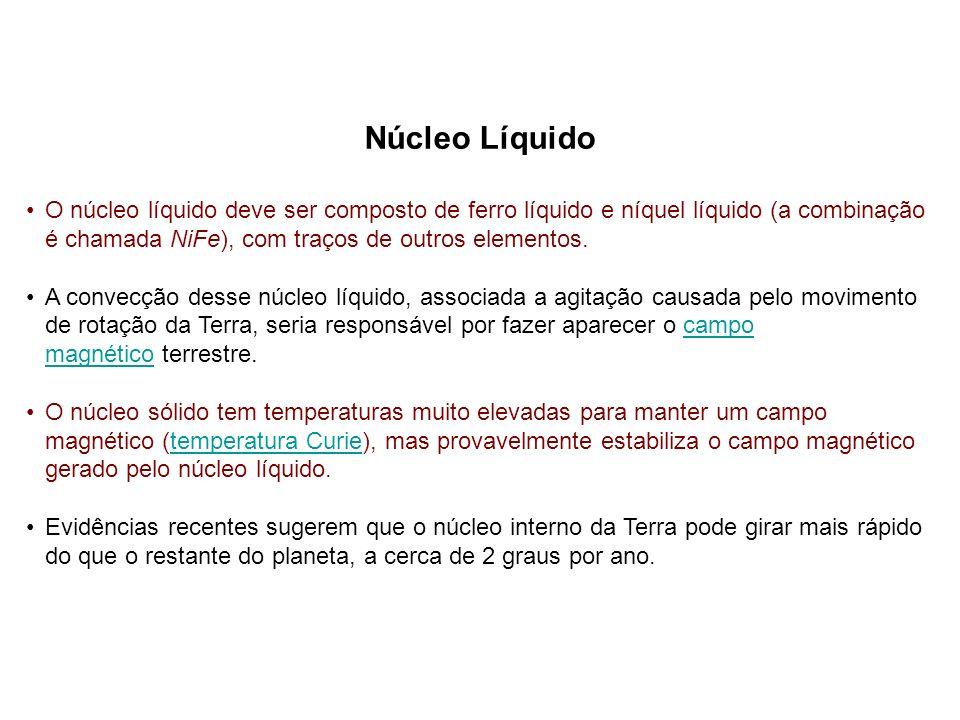 Núcleo Líquido O núcleo líquido deve ser composto de ferro líquido e níquel líquido (a combinação é chamada NiFe), com traços de outros elementos. A c