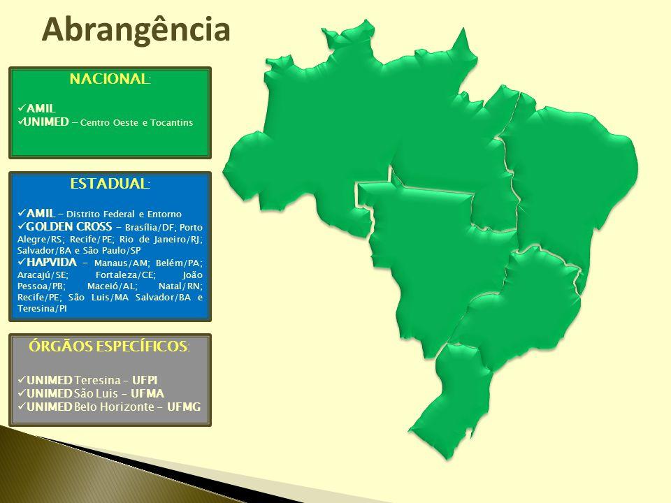 NACIONAL : AMIL UNIMED - Centro Oeste e Tocantins ESTADUAL : AMIL - Distrito Federal e Entorno GOLDEN CROSS – Brasília/DF; Porto Alegre/RS; Recife/PE;