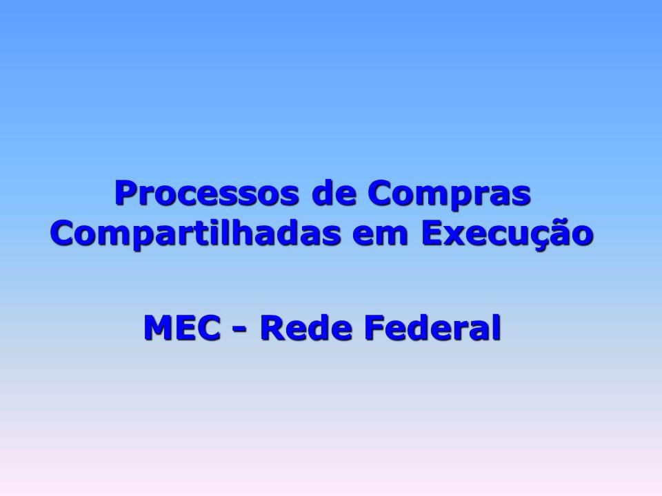 Processos de Compras Compartilhadas em Execução MEC - Rede Federal