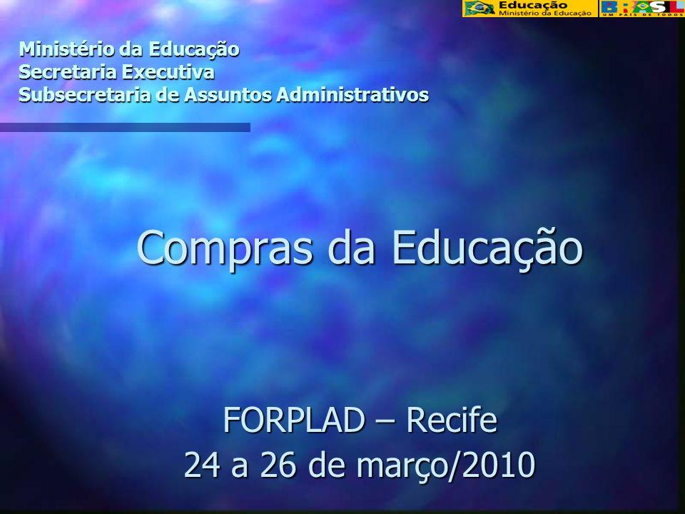 Ministério da Educação Secretaria Executiva Subsecretaria de Assuntos Administrativos Compras da Educação FORPLAD – Recife 24 a 26 de março/2010