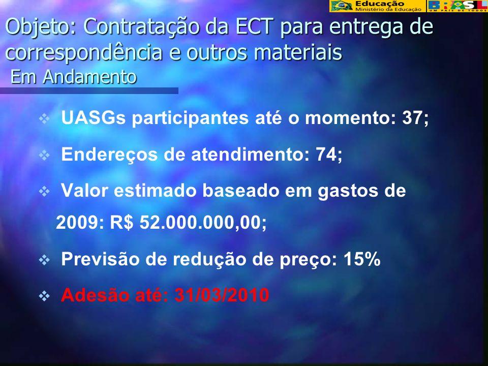 Objeto: Contratação da ECT para entrega de correspondência e outros materiais Em Andamento UASGs participantes até o momento: 37; Endereços de atendimento: 74; Valor estimado baseado em gastos de 2009: R$ 52.000.000,00; Previsão de redução de preço: 15% Adesão até: 31/03/2010