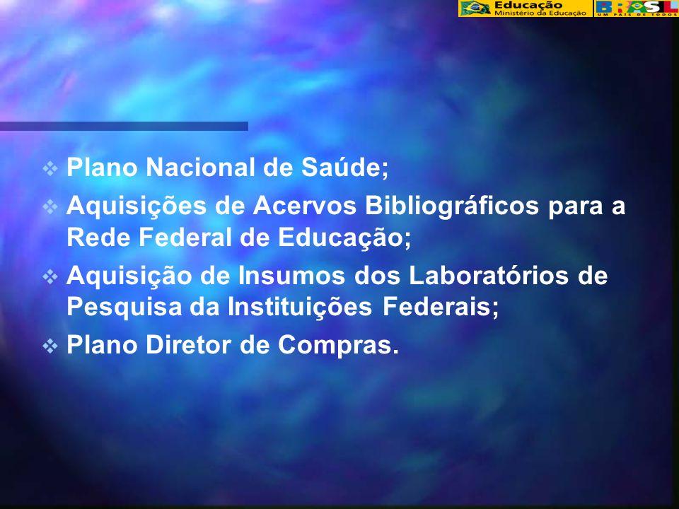 Plano Nacional de Saúde; Aquisições de Acervos Bibliográficos para a Rede Federal de Educação; Aquisição de Insumos dos Laboratórios de Pesquisa da Instituições Federais; Plano Diretor de Compras.