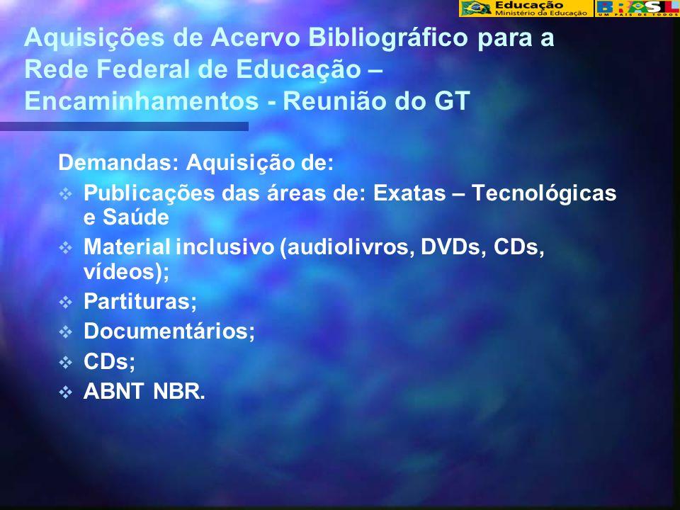 Aquisições de Acervo Bibliográfico para a Rede Federal de Educação – Encaminhamentos - Reunião do GT Demandas: Aquisição de: Publicações das áreas de: