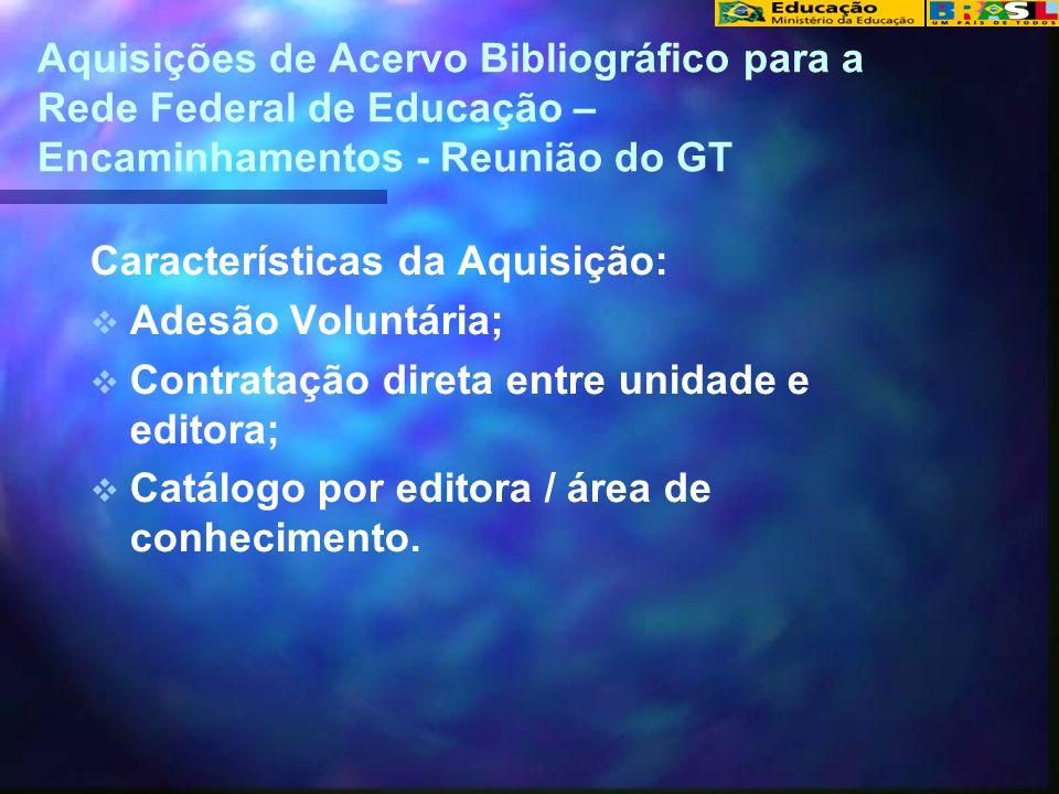 Aquisições de Acervo Bibliográfico para a Rede Federal de Educação – Encaminhamentos - Reunião do GT Características da Aquisição: Adesão Voluntária;