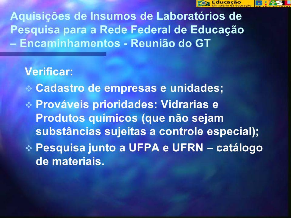 Aquisições de Insumos de Laboratórios de Pesquisa para a Rede Federal de Educação – Encaminhamentos - Reunião do GT Verificar: Cadastro de empresas e