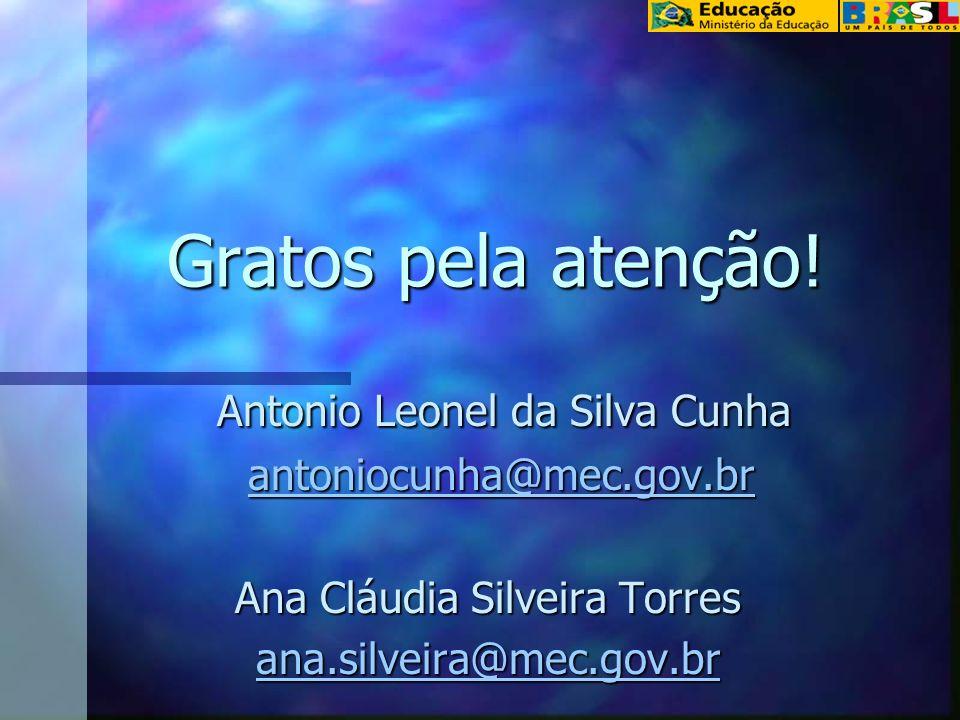 Gratos pela atenção! Antonio Leonel da Silva Cunha Antonio Leonel da Silva Cunha antoniocunha@mec.gov.br antoniocunha@mec.gov.brantoniocunha@mec.gov.b